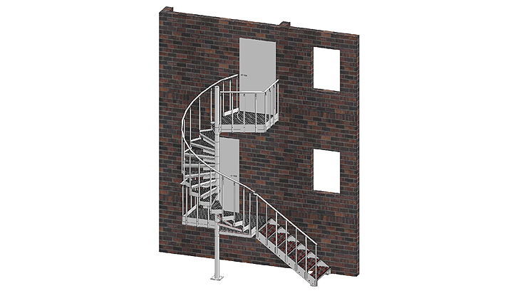 Combination of spiral and straight stairways with railing A