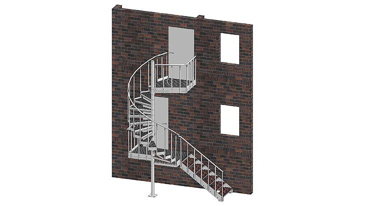 Kombination Spindel-/ Gerade Treppe mit Geländer A