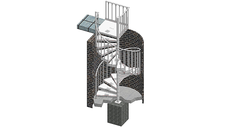 Spiral stairways with railing B