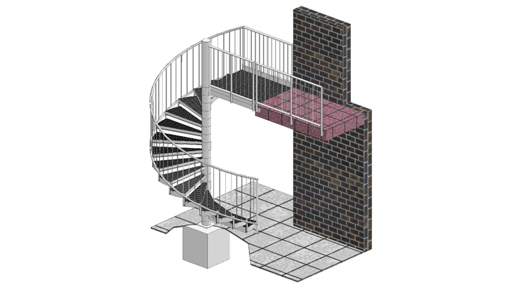 Spiral stairways with railing C