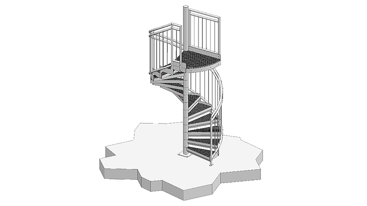 Spiral stairways with railing D