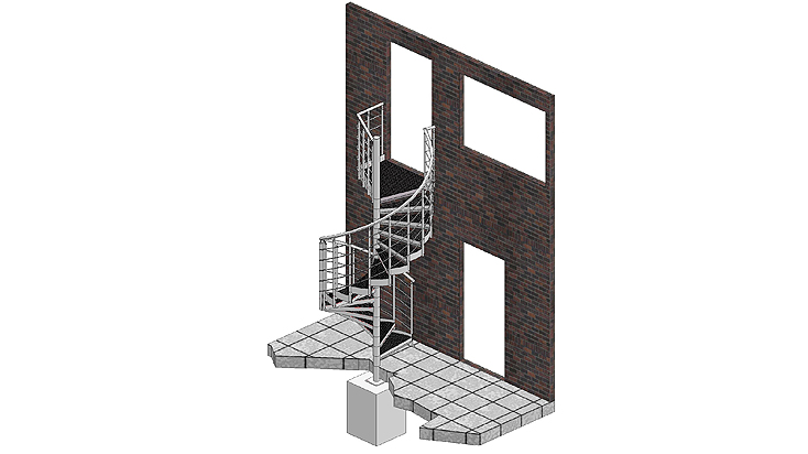 Spiral stairways with railing E