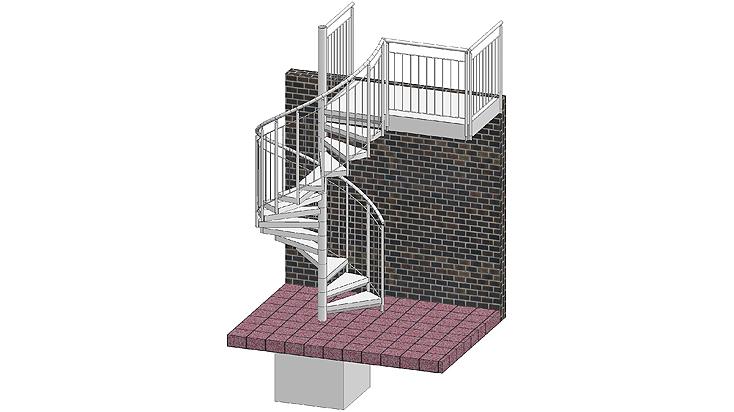 Spiral stairways with railing F