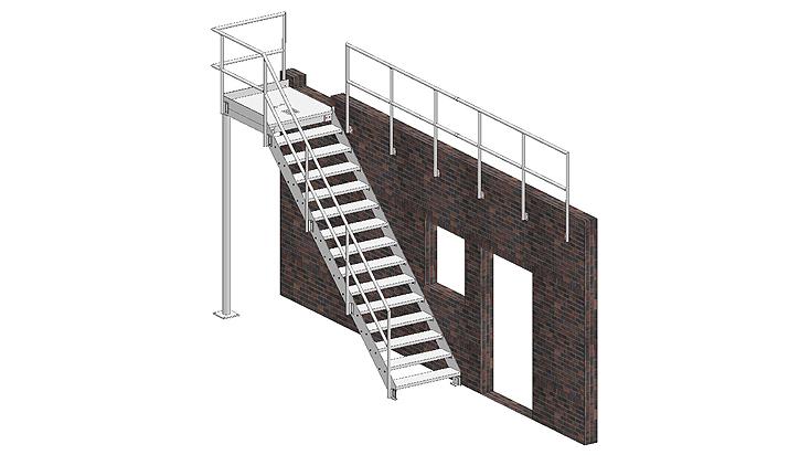Gerade Stahltreppe mit Geländer A2