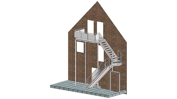 Gegenläufige Stahltreppe mit Geländer C3