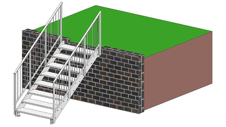 Gerade Stahltreppe mit Geländer C1 & C2