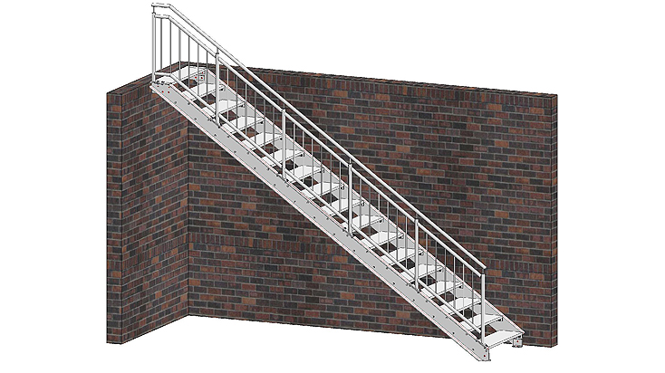 Gerade Stahltreppe mit Geländer D3