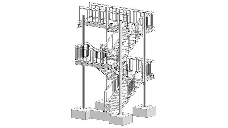 Mehrläufige Stahltreppe mit Geländer D1 & D2