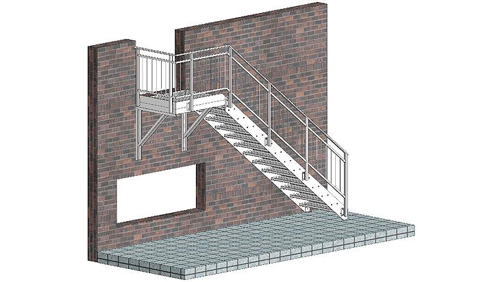 Gerade Stahltreppe mit Geländer D1 & D2