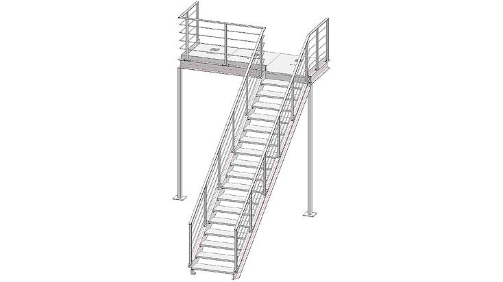 Gerade Stahltreppe mit Geländer E