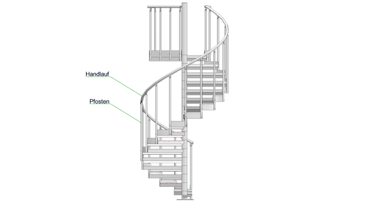 Railing for spiral stairways - Typ A