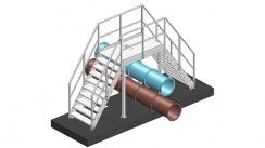 Gerader Stahltreppenübergang mit Geländer A1